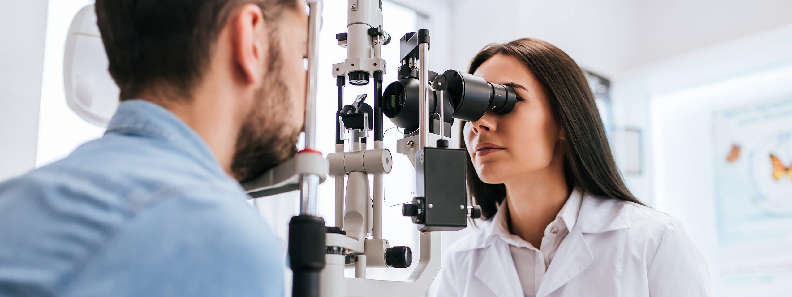 Photo of female optometrist giving an exam.