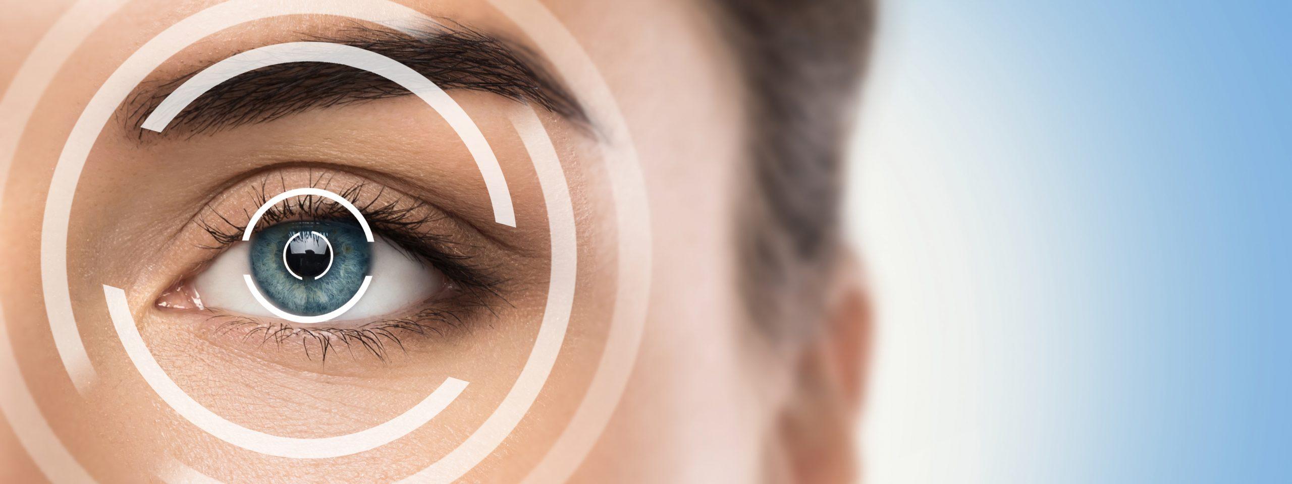 Graphic overlay of female eye